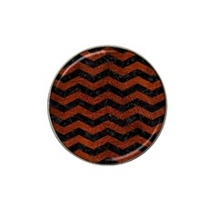 Chevron3 Black Marble & Reddish Brown Leather Hat Clip Ball Marker (10 Pack) by trendistuff