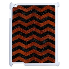 Chevron3 Black Marble & Reddish Brown Leather Apple Ipad 2 Case (white) by trendistuff