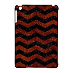 Chevron3 Black Marble & Reddish Brown Leather Apple Ipad Mini Hardshell Case (compatible With Smart Cover) by trendistuff
