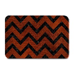 Chevron9 Black Marble & Reddish Brown Leather Plate Mats by trendistuff