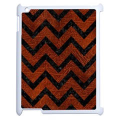 Chevron9 Black Marble & Reddish Brown Leather Apple Ipad 2 Case (white) by trendistuff