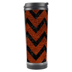 Chevron9 Black Marble & Reddish Brown Leather Travel Tumbler by trendistuff