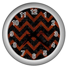 Chevron9 Black Marble & Reddish Brown Leather (r) Wall Clocks (silver)  by trendistuff