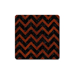 Chevron9 Black Marble & Reddish Brown Leather (r) Square Magnet by trendistuff