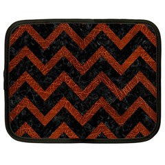 Chevron9 Black Marble & Reddish Brown Leather (r) Netbook Case (large) by trendistuff