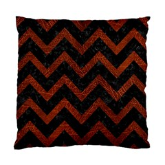 Chevron9 Black Marble & Reddish Brown Leather (r) Standard Cushion Case (one Side) by trendistuff