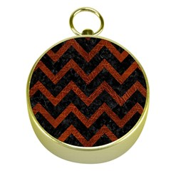 Chevron9 Black Marble & Reddish Brown Leather (r) Gold Compasses by trendistuff
