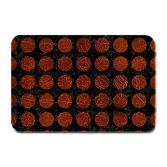 Circles1 Black Marble & Reddish Brown Leather (r) Plate Mats by trendistuff