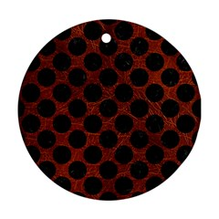 Circles2 Black Marble & Reddish Brown Leather Ornament (round) by trendistuff