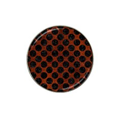 Circles2 Black Marble & Reddish Brown Leather Hat Clip Ball Marker by trendistuff