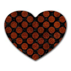 Circles2 Black Marble & Reddish Brown Leather (r) Heart Mousepads by trendistuff