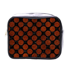 Circles2 Black Marble & Reddish Brown Leather (r) Mini Toiletries Bags by trendistuff