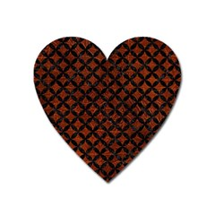 Circles3 Black Marble & Reddish Brown Leather Heart Magnet by trendistuff