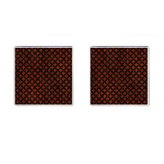 Circles3 Black Marble & Reddish Brown Leather Cufflinks (square) by trendistuff