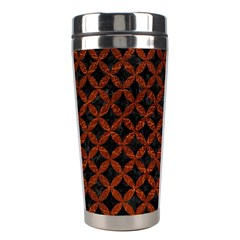 Circles3 Black Marble & Reddish Brown Leather (r) Stainless Steel Travel Tumblers by trendistuff