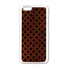 Circles3 Black Marble & Reddish Brown Leather (r) Apple Iphone 6/6s White Enamel Case by trendistuff