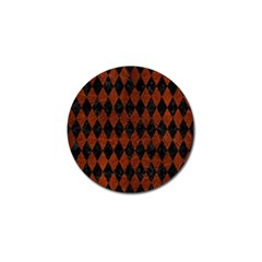 Diamond1 Black Marble & Reddish Brown Leather Golf Ball Marker by trendistuff