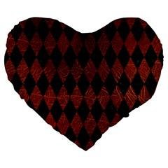 Diamond1 Black Marble & Reddish Brown Leather Large 19  Premium Flano Heart Shape Cushions by trendistuff