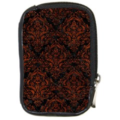 Damask1 Black Marble & Reddish Brown Leather (r) Compact Camera Cases by trendistuff