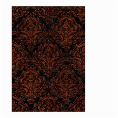 Damask1 Black Marble & Reddish Brown Leather (r) Small Garden Flag (two Sides) by trendistuff