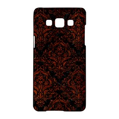Damask1 Black Marble & Reddish Brown Leather (r) Samsung Galaxy A5 Hardshell Case