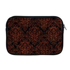 Damask1 Black Marble & Reddish Brown Leather (r) Apple Macbook Pro 17  Zipper Case by trendistuff