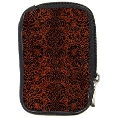 Damask2 Black Marble & Reddish Brown Leather Compact Camera Cases by trendistuff