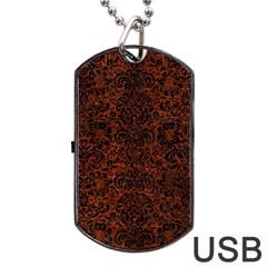 Damask2 Black Marble & Reddish Brown Leather Dog Tag Usb Flash (one Side) by trendistuff