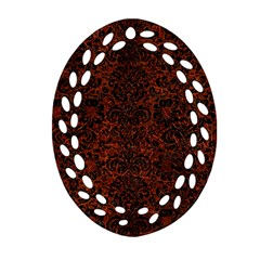 Damask2 Black Marble & Reddish Brown Leather Oval Filigree Ornament (two Sides) by trendistuff