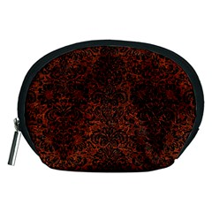 Damask2 Black Marble & Reddish Brown Leather Accessory Pouches (medium)  by trendistuff