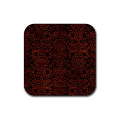 Damask2 Black Marble & Reddish Brown Leather (r) Rubber Coaster (square)  by trendistuff