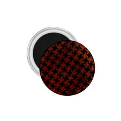 Houndstooth2 Black Marble & Reddish Brown Leather 1 75  Magnets by trendistuff
