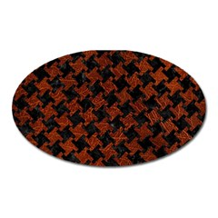 Houndstooth2 Black Marble & Reddish Brown Leather Oval Magnet by trendistuff
