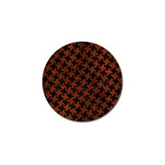 Houndstooth2 Black Marble & Reddish Brown Leather Golf Ball Marker by trendistuff