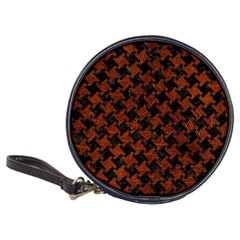 Houndstooth2 Black Marble & Reddish Brown Leather Classic 20 Cd Wallets by trendistuff