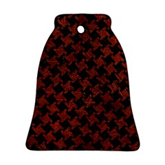 Houndstooth2 Black Marble & Reddish Brown Leather Bell Ornament (two Sides) by trendistuff