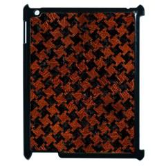 Houndstooth2 Black Marble & Reddish Brown Leather Apple Ipad 2 Case (black) by trendistuff