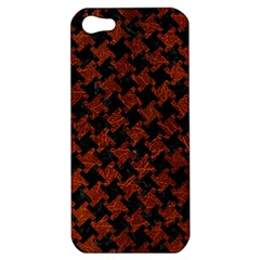 Houndstooth2 Black Marble & Reddish Brown Leather Apple Iphone 5 Hardshell Case by trendistuff