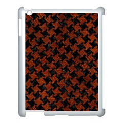 Houndstooth2 Black Marble & Reddish Brown Leather Apple Ipad 3/4 Case (white) by trendistuff