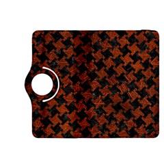 Houndstooth2 Black Marble & Reddish Brown Leather Kindle Fire Hdx 8 9  Flip 360 Case by trendistuff
