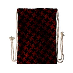 Houndstooth2 Black Marble & Reddish Brown Leather Drawstring Bag (small) by trendistuff