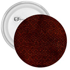 Hexagon1 Black Marble & Reddish Brown Leather 3  Buttons by trendistuff