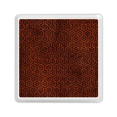 Hexagon1 Black Marble & Reddish Brown Leather Memory Card Reader (square)  by trendistuff