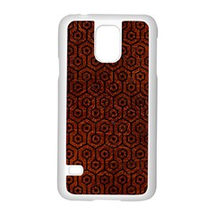 Hexagon1 Black Marble & Reddish Brown Leather Samsung Galaxy S5 Case (white) by trendistuff