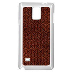 Hexagon1 Black Marble & Reddish Brown Leather Samsung Galaxy Note 4 Case (white) by trendistuff