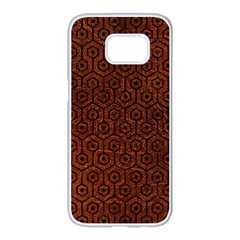 Hexagon1 Black Marble & Reddish Brown Leather Samsung Galaxy S7 Edge White Seamless Case by trendistuff
