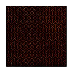 Hexagon1 Black Marble & Reddish Brown Leather (r) Tile Coasters by trendistuff