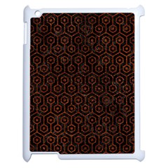 Hexagon1 Black Marble & Reddish Brown Leather (r) Apple Ipad 2 Case (white) by trendistuff