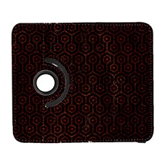 Hexagon1 Black Marble & Reddish Brown Leather (r) Galaxy S3 (flip/folio) by trendistuff