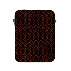 Hexagon1 Black Marble & Reddish Brown Leather (r) Apple Ipad 2/3/4 Protective Soft Cases by trendistuff